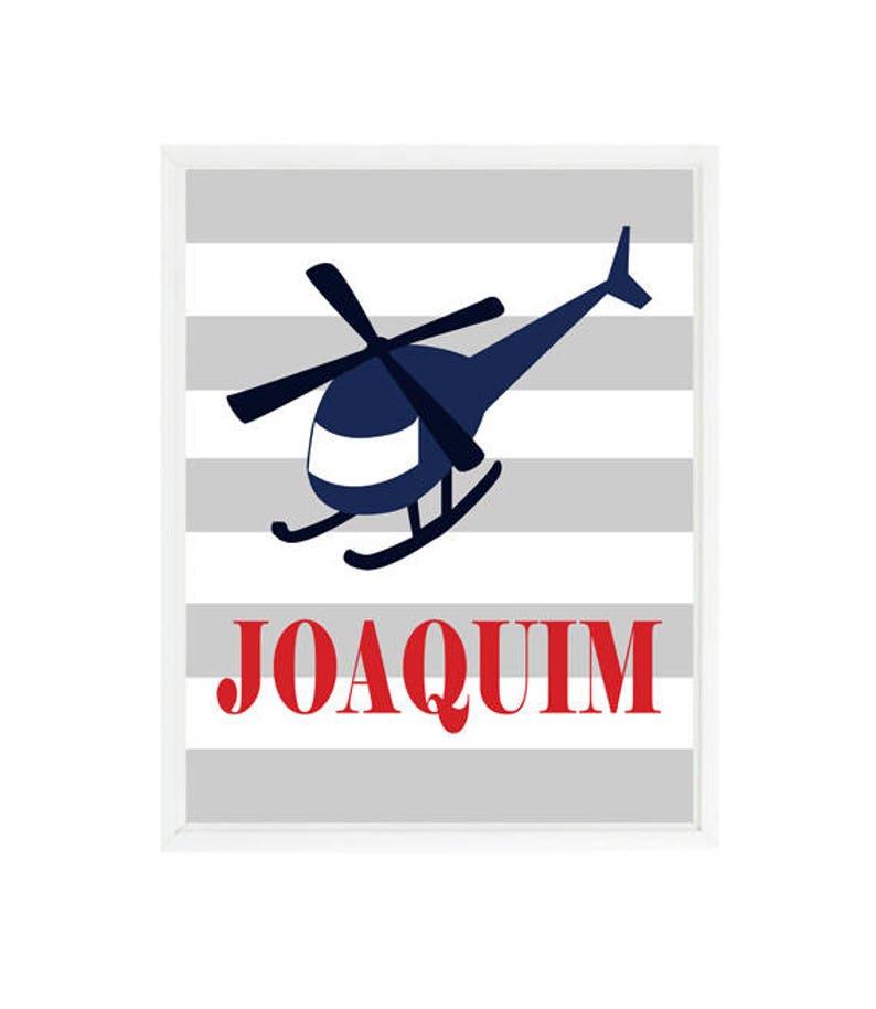 Helicopter Art, Transportation Nursery, Name Print, Personalized Nursery,  Helicopter Nursery, Flying Prints, Baby Boy Nursery, Boy Room Art