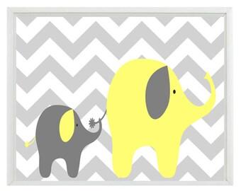 Elephant Chevron Nursery Wall Art Print - Yellow Gray Decor - Mother Baby Children Kid Room - Wall Art Home Decor  Print