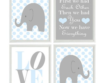 Elephant Nursery Art Print Set  - Gray Light Blue Polka Dot Decor - First We Had Eachother Quote - LOVE Baby Boy Room - Wall Art Home Decor
