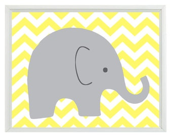 Elephant Chevron Nursery Wall Art Print - Yellow Gray Decor - Children Kid Baby Room - Wall Art Home Decor