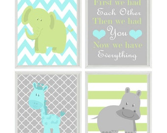 Nursery Wall Art - Elephant Giraffe Hippo - First We Had Eachother Quote - Aqua Gray Green - Wall Art Print Set   - Baby Boy Wall Art