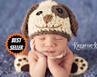 ba82009590a Baby Boy Hat PUPPY LUV Newborn Baby Boy Crochet Doggy Hat and Paws Booties  Dog Hat Slippers Doggy outfit set Costume