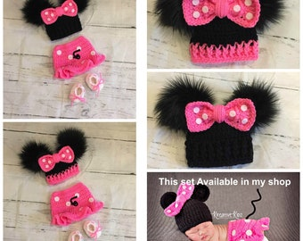 Crochet Minnie Mouse Hat For Baby Etsy