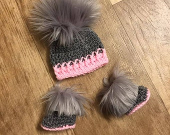 b4344e913fb Baby Girl Hat Booties Boots Socks Faux Fur Newborn Baby girl Crochet Pom  Pom Hat and Booties Slippers Furry Baby boots Uggs Gray Pink