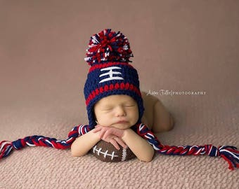 9d9978f12 New England Patriots Baby Boy Hat FOOTBALL Newborn Baby Boy or girl Crochet  Football Hat With Ear Flaps 0 3 6 12 months Steelers Texans