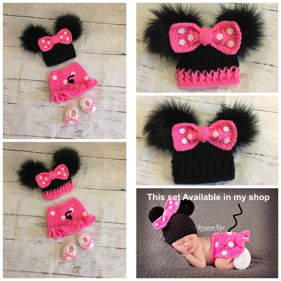 Baby Girl Hat MINNIE MOUSE Inspired Faux Fur Double Pom Pom Newborn Crochet  Mouse Hat, Skirt Dress and Booties Slippers 0 3 6 9 12 months
