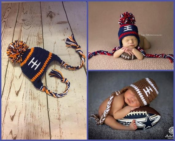 5b99af1f1 Denver Broncos Baby Boy Hat FOOTBALL Newborn Baby Boy Crochet
