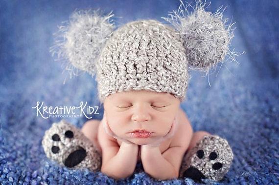 3c82938f311 Baby Boy Hat KOALA Newborn Baby Boy Crochet Koala BEAR Hat and