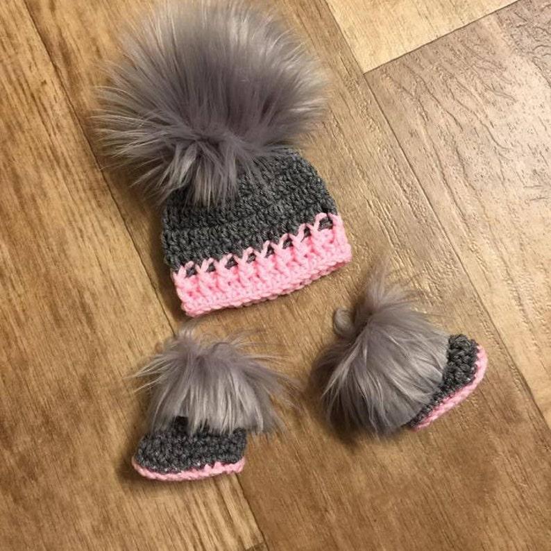 Baby Girl Hat Booties Boots Socks Faux Fur Newborn Baby girl  b076d5dc462