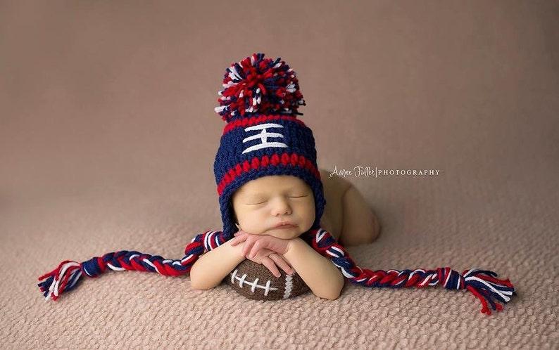 0ec7574d New England Patriots Baby Boy Hat FOOTBALL Newborn Baby Boy or girl Crochet  Football Hat With Ear Flaps 0 3 6 12 months Steelers Texans