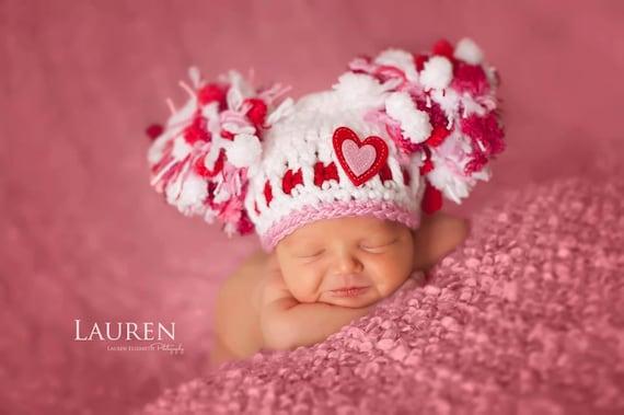 SALE Baby Girl Hat Valentine Hat Newborn Crochet Chunky Double  32e33623168e