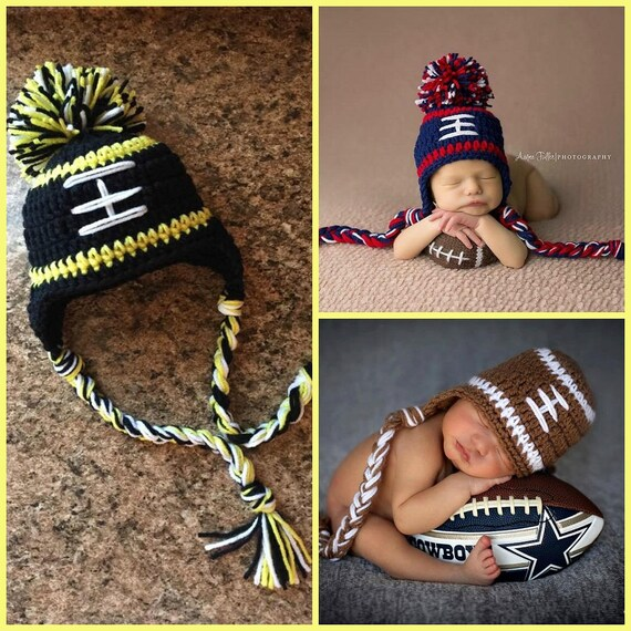 Pittsburgh Steelers Baby Boy Hat FOOTBALL Newborn Baby Boy or girl Crochet Football Hat With Ear Flaps 0 3 6 12 months Patriots Seahawks