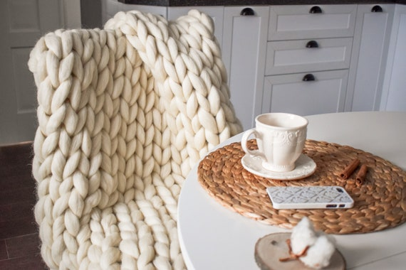 SALE TODAY ONLY  Chunky Knit Blanket Chunky Knit Merino Wool