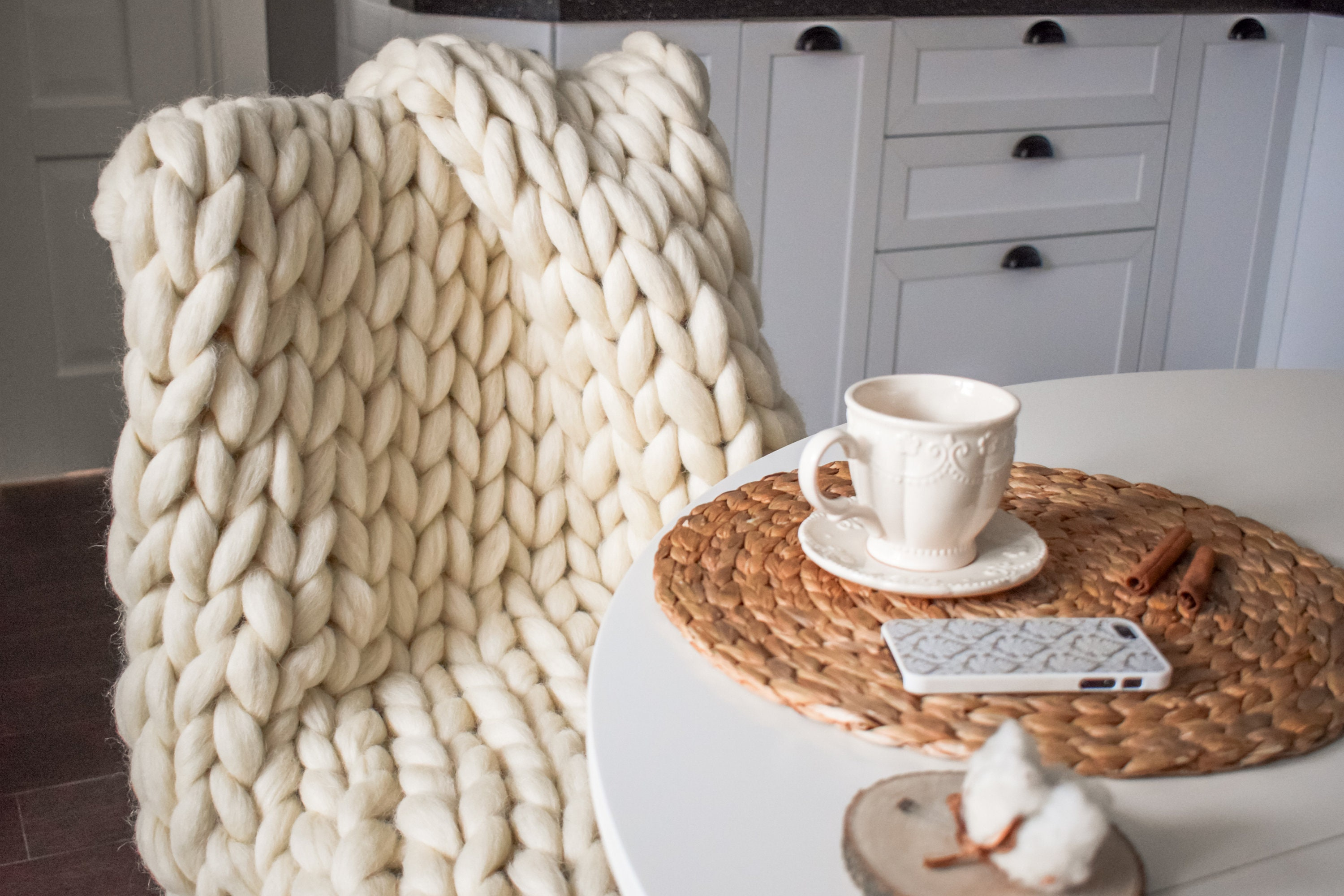 Chunky knit Merino wool blanket from ShepsWool for the woman who's always cold