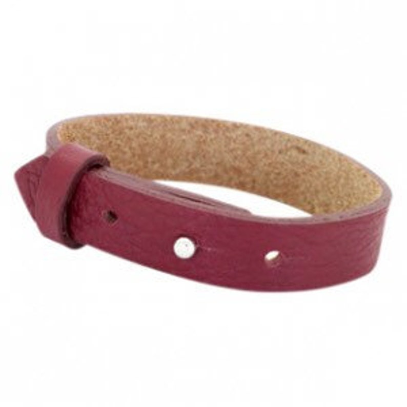 Leather bracelet wide wine red image 0
