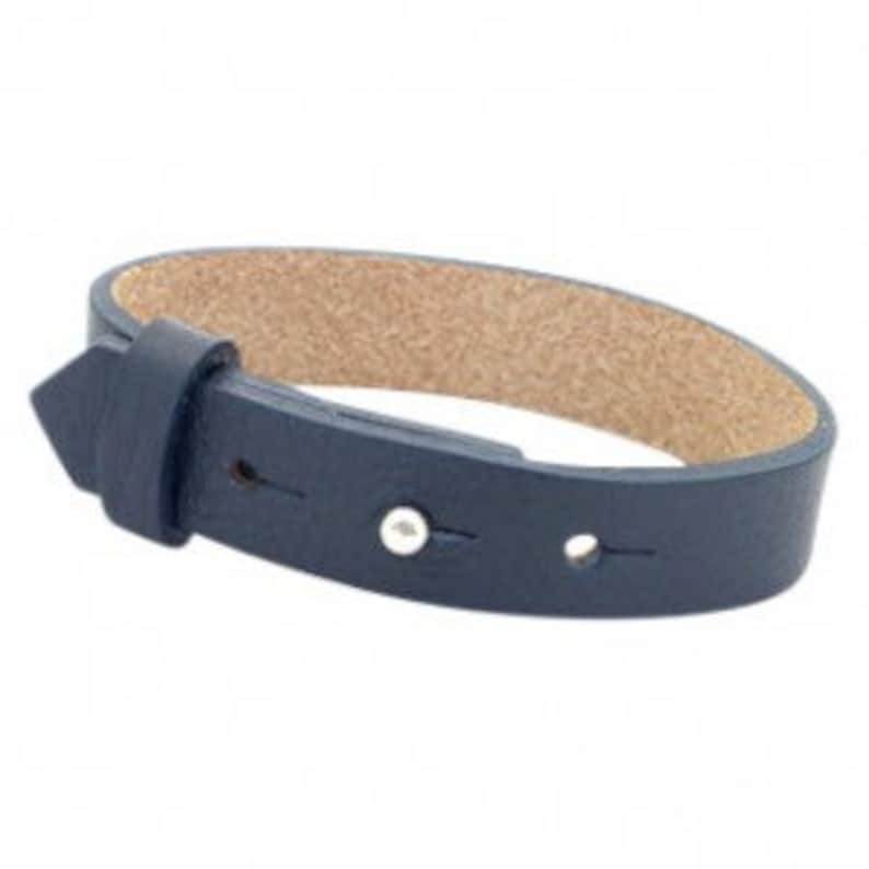 Leather bracelet wide navy blue image 0