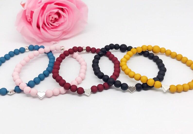Beaded bracelet acrylic beads heart image 0