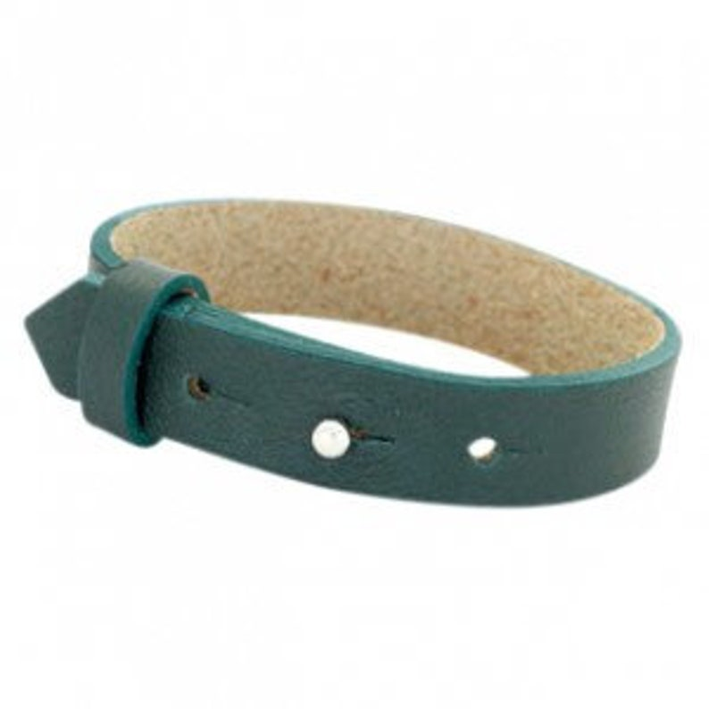 Leather bracelet wide dark green image 0