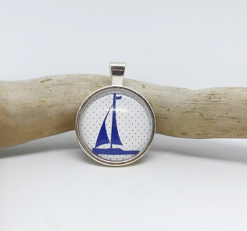 Crystal pendant Sailboat blue image 0