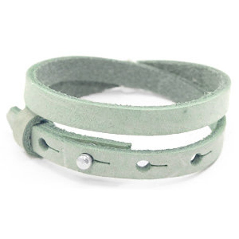 Leather bracelet double mint image 0