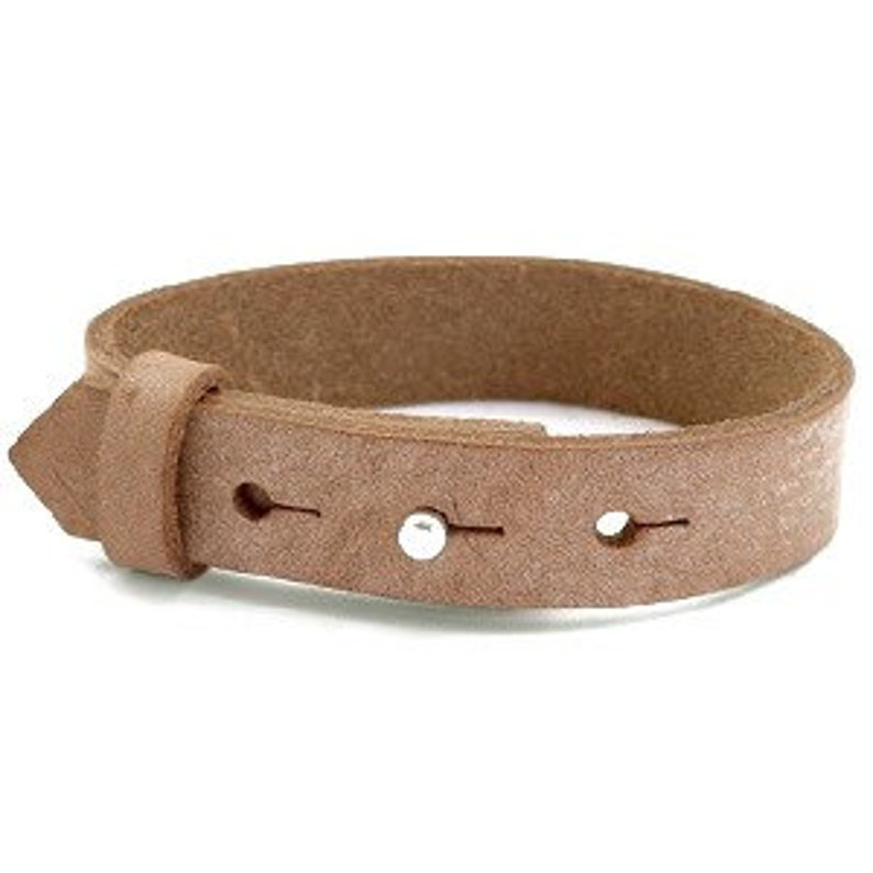 Leather bracelet wide light brown image 0
