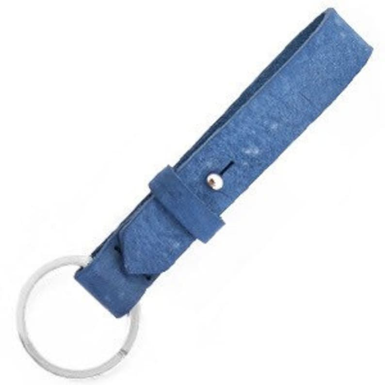 Keychain leather medium blue image 0