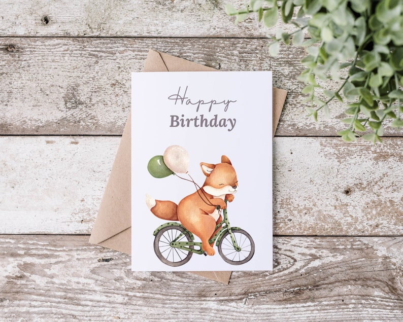 Postcard  Greeting Card  Birthday Fuchs image 0