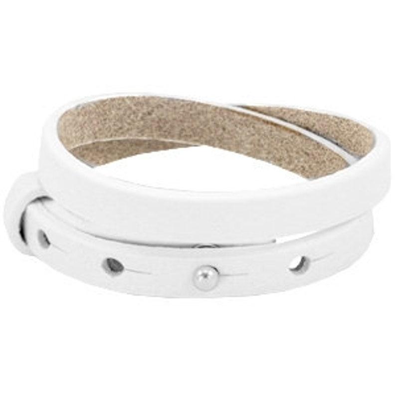 Leather bracelet double white image 0