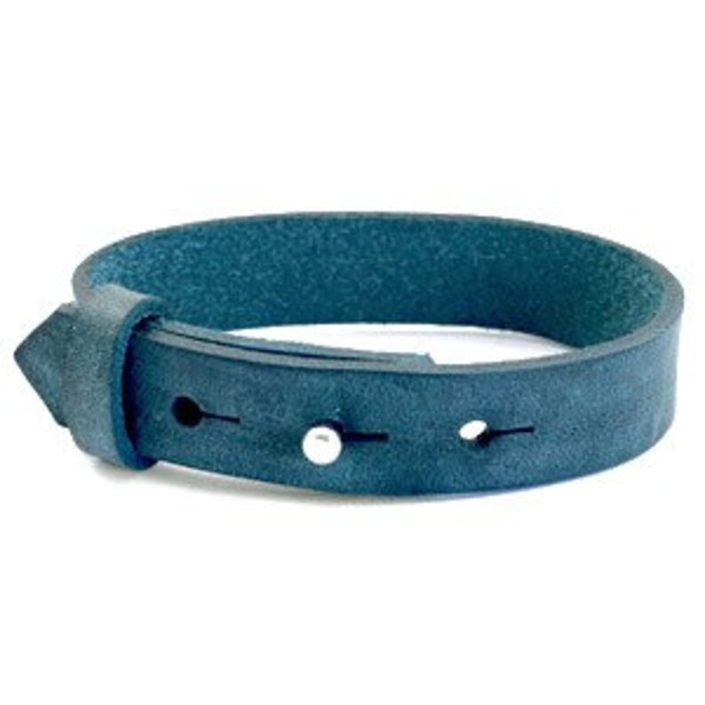 Leather bracelet wide blue mottled image 0