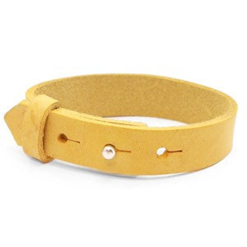 Leather bracelet wide yellow image 0