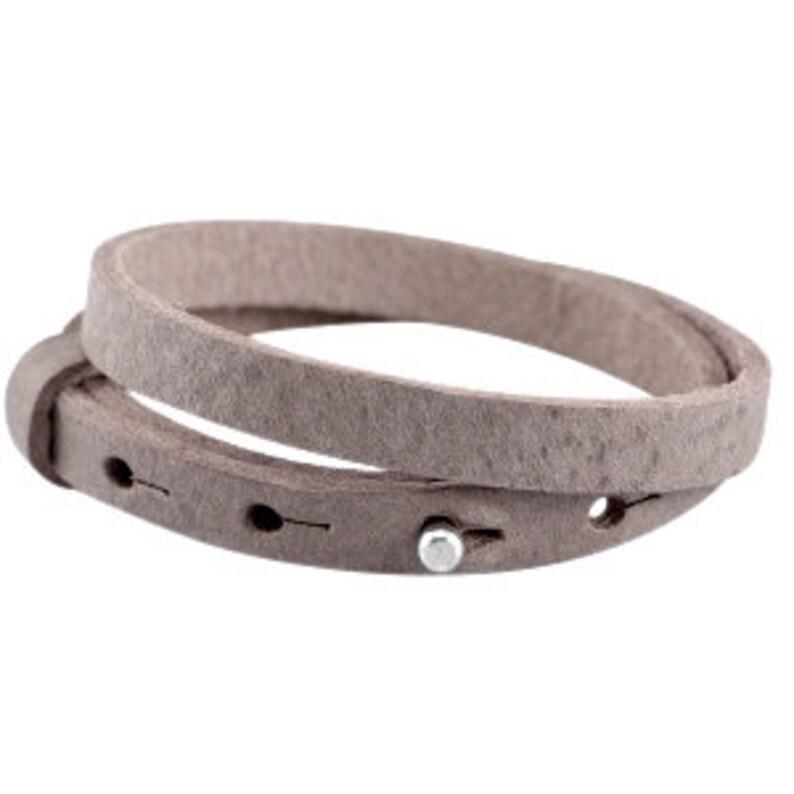 Leather bracelet double terra brown image 0