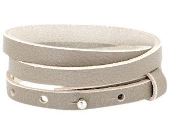 "Leather strap triple ""grey"""