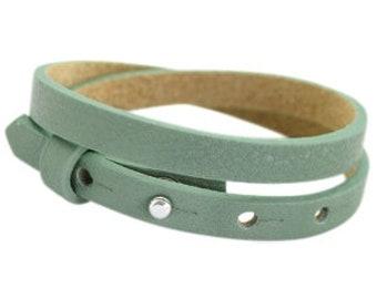 "Leather bracelet Double ""green"""