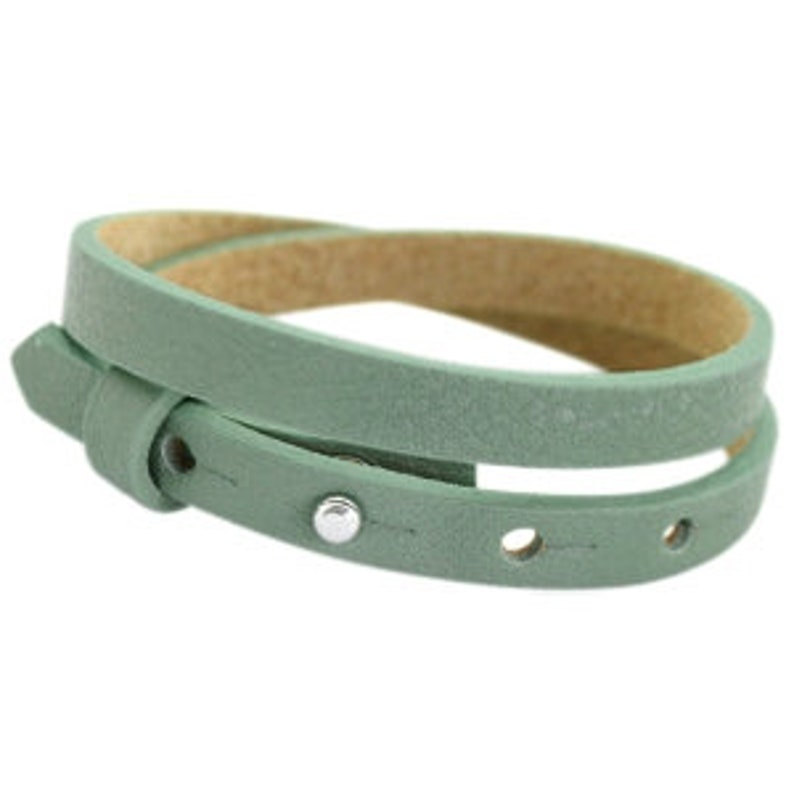 Leather bracelet Double green image 0