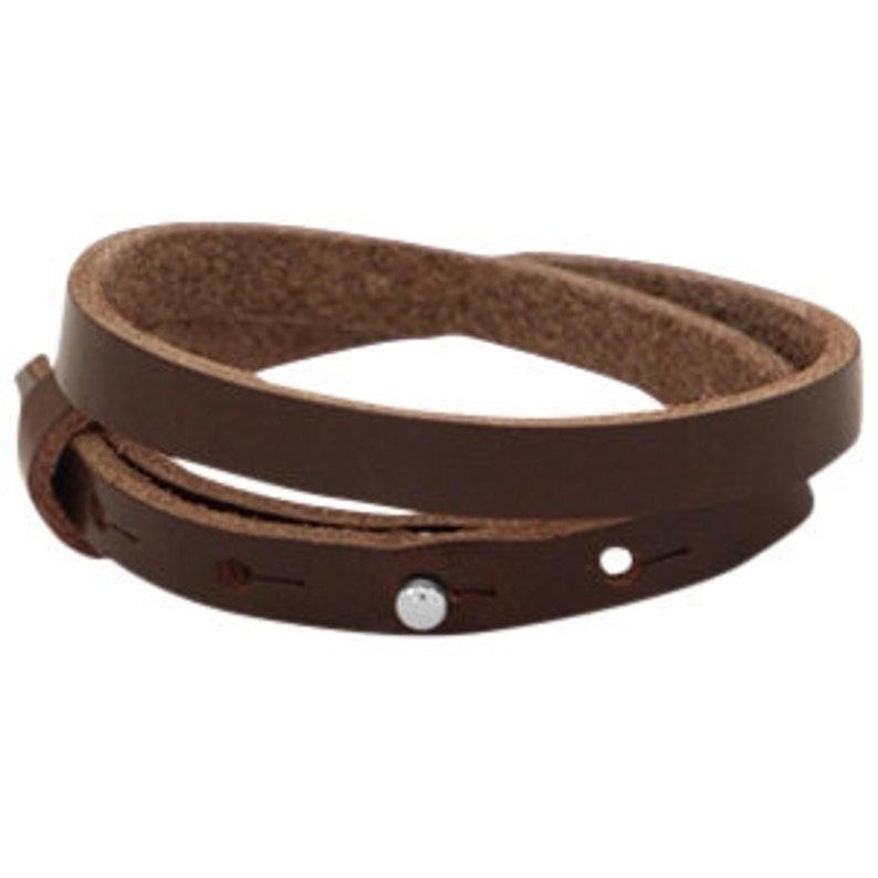 Leather bracelet double dark brown image 0