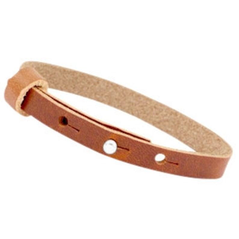Leather strap simple medium brown image 0