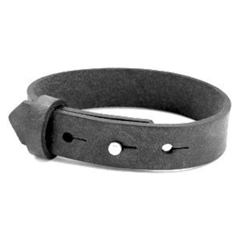 Leather bracelet wide dark grey image 0