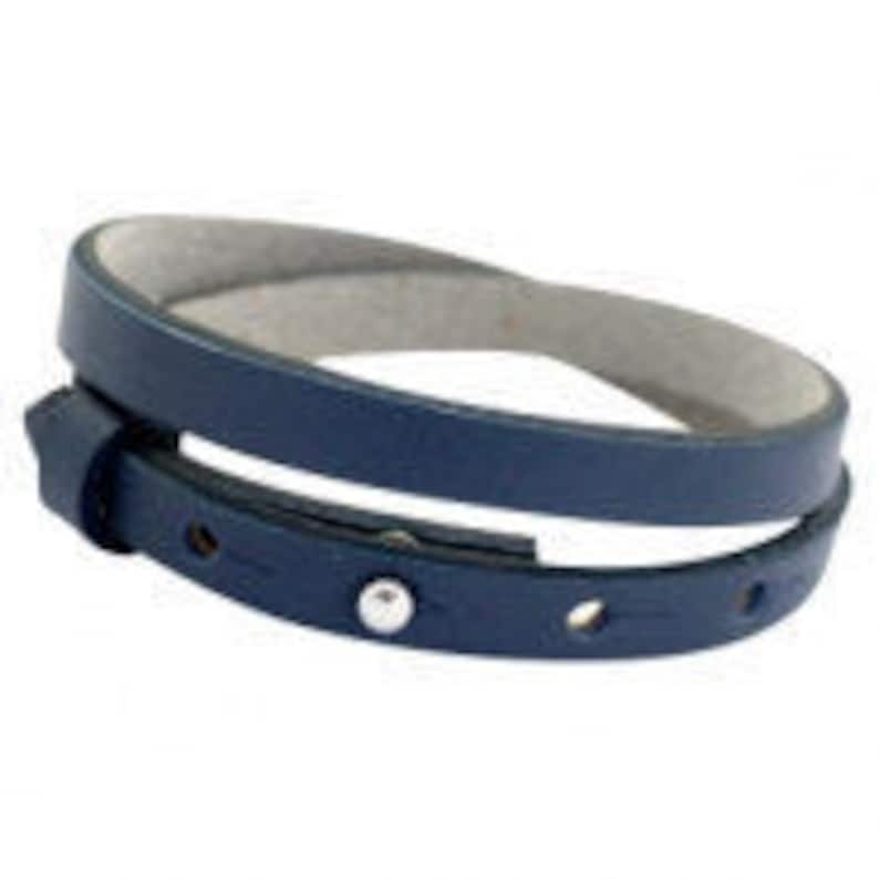 Leather bracelet navy blue image 0