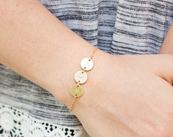 Personalized gold silver rose bracelet with initials, name custom letter jewelry