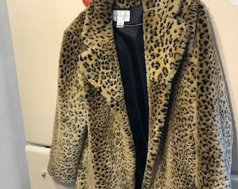 Faux Fur Vintage Cheetah Print Coat