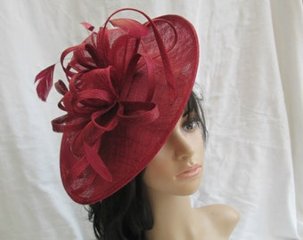 Burgundy Fascinator..Stunning shaped Burgundy Sinamay Fascinator Hat on a Headband