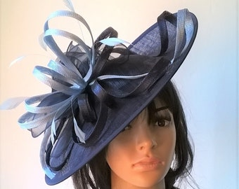 12b31be80d Navy Blue with pale powder Blue Feather Fascinator..Stunning Sinamay  Fascinator on a Headband..ascot