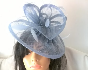 Powder Blue  Fascinator ..Sinamay and  feather Fascinator...Gemma