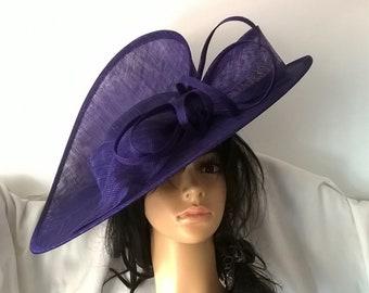 Bella.Stunning Purple Sinamay split disc hatinator with Bow &  loops..wedding,races..