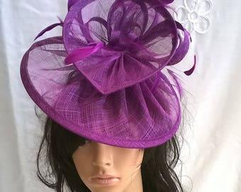Purple  Fascinator ..Sinamay and  feather Fascinator...Gemma