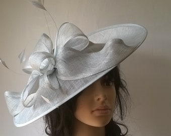 Iced Blue pale peppermint shaped hatinator with Bow   feather trim  ..wedding 9fa616a6de3