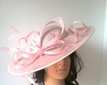 Stunning Blush  Sinamay disc hatinator with loops..wedding,races..