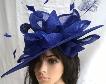 Larger Hatinator..Stunning  Sinamay Sapphire Blue Fascinator Hat on a Headband..Hatinator..bag  seperate purchase