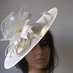 Alisha..Ivory Feather Fascinator..Stunning Sinamay Fascinator on a Headband..