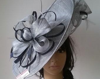 Silver Grey metallic   Navy Hatinator..Stunning Sinamay Fascinator Hat on a  Headband..Hatinator ea2cb027bf7